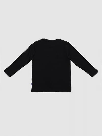Boys Black Tape Detail Full Sleeves Crew Neck T-shirt