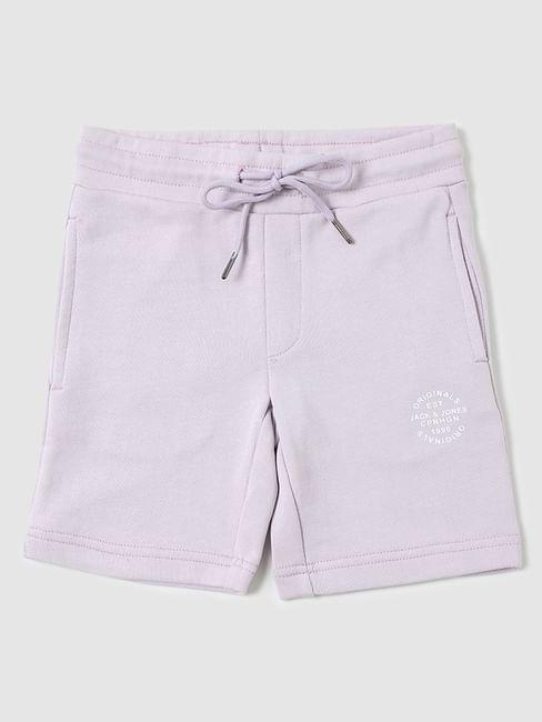 Boys Purple Mid Rise Sweatshorts