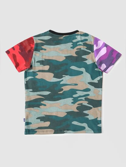 Boys Multi-coloured Camo Crew Neck T-shirt