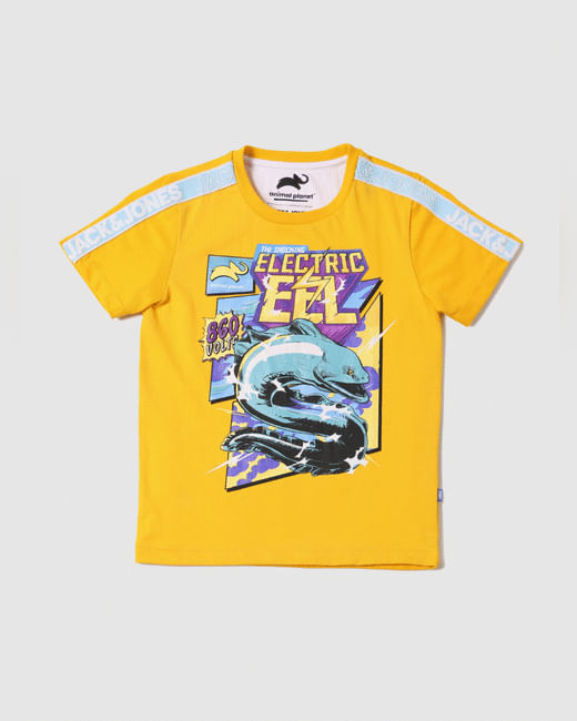 BOYS X ANIMAL PLANET Yellow Graphic Print Crew Neck T-shirt