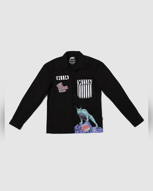 BOYS X ANIMAL PLANET Black Graphic Patch Pocket Shirt