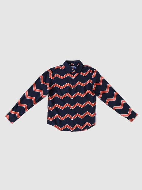 Boys Blue Zig Zag Print Full Sleeves Shirt