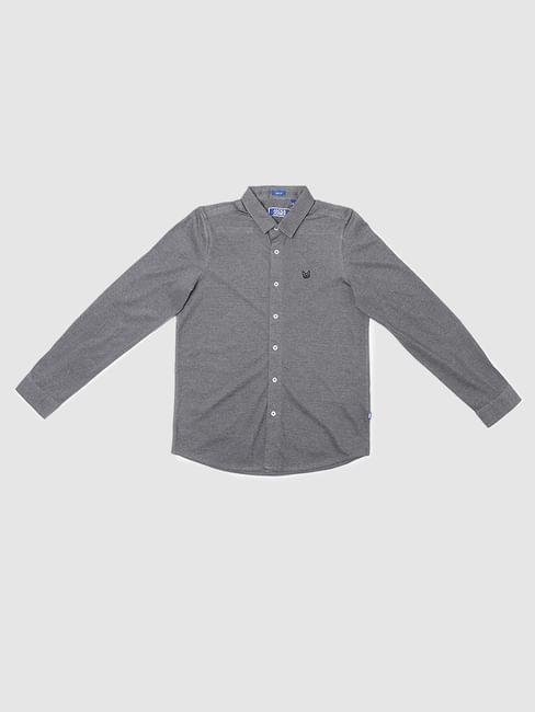 Boys Grey Full Sleeves Shirt