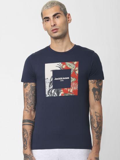 Navy Blue Graphic Print Crew Neck T-shirt