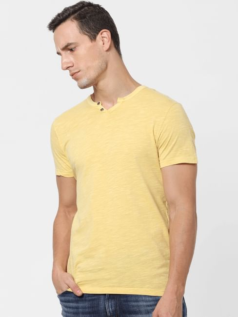 Yellow V Neck T-shirt