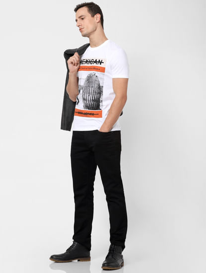 White Cactus Print Crew Neck T-shirt