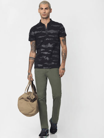 Black Camo Print Polo Neck T-shirt