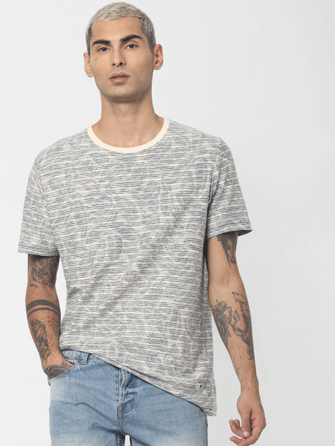 Ecru All Over Print Crew Neck T-shirt