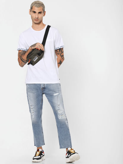 Blue Distressed Frank Anti Fit Jeans