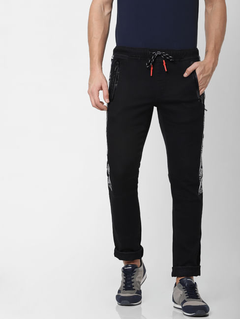 Black Low Rise Tape Detail Glenn Slim Fit Jeans