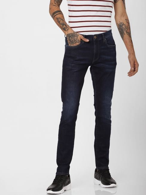 PROTECT' Dark Blue Low Rise Liam Skinny Fit Jeans