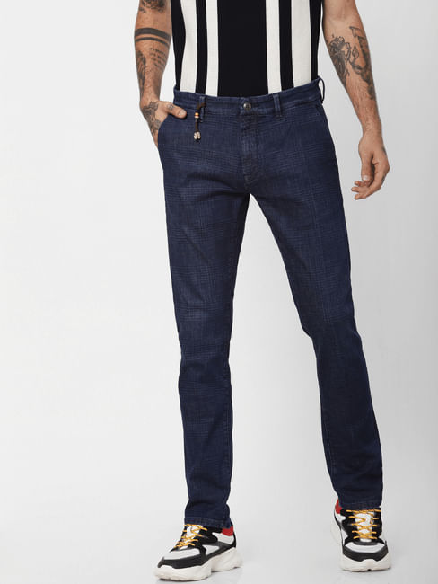 'PROTECT' Dark Blue Low Rise Tim Slim Fit Jeans