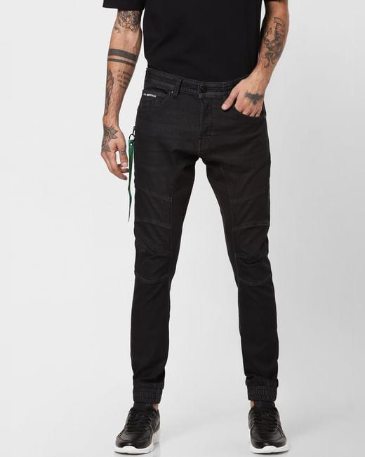 Black Stitch Line Detail Simon Anti Fit Jeans
