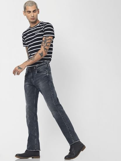 Blue Low Rise Washed Clark Regular Fit Jeans