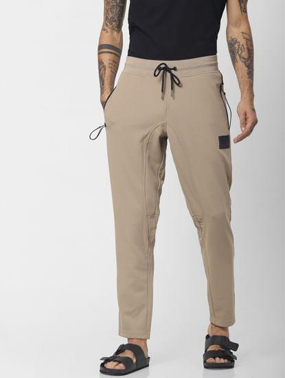 Beige Mid Rise Drawstring Sweatpants