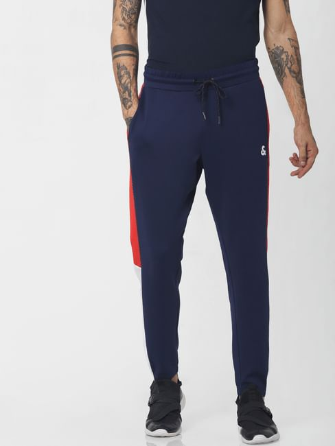 Navy Blue Mid Rise Tape Detail Sweatpants