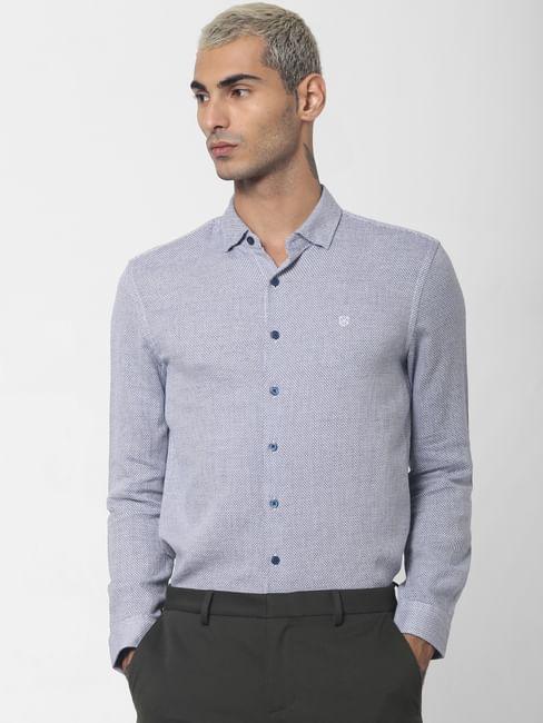 Blue Dobby Full Sleeves Shirt