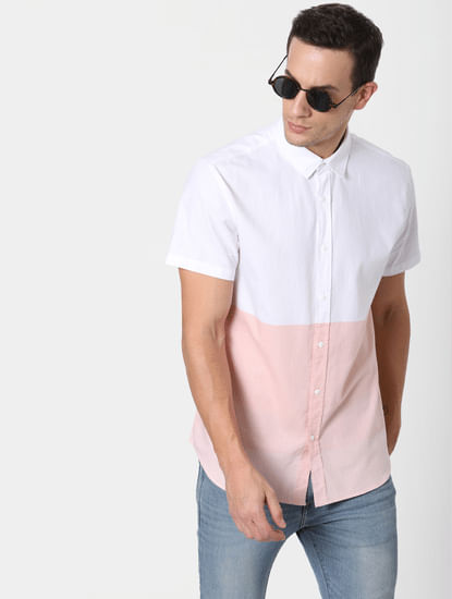 Pink Colourblocked Short Sleeves Shirt