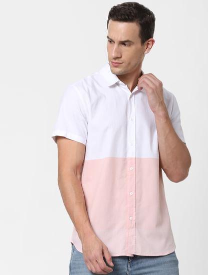 Pink Colourblocked Short Sleeves Shirt