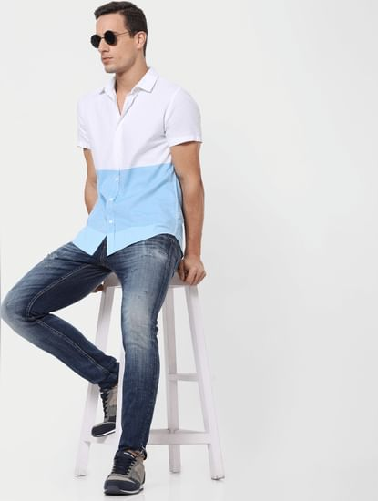 Blue Colourblocked Short Sleeves Shirt