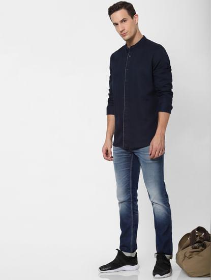 Navy Blue Mandarin Collar Full Sleeves Shirt
