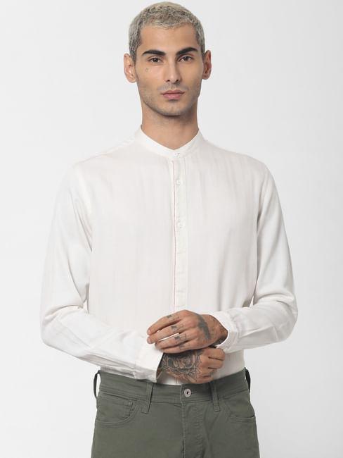 White Mandarin Collar Full Sleeves Shirt