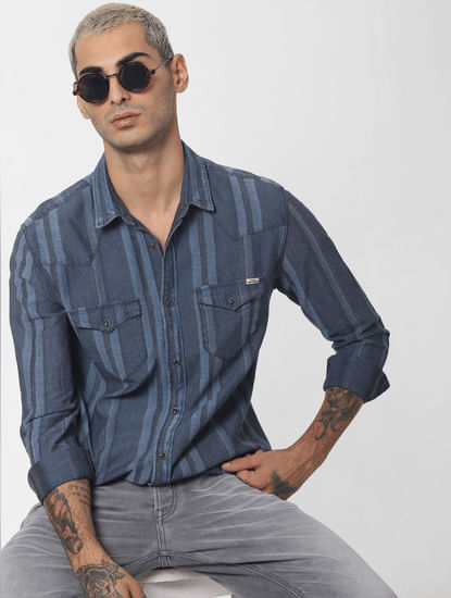 Blue Striped Denim Full Sleeves Shirt
