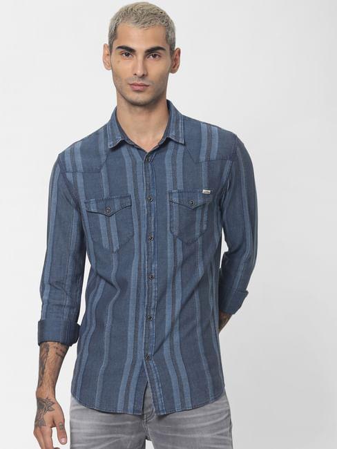 Blue Striped Denim Full Sleeves Shirt