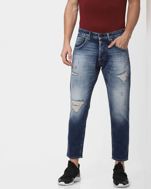 Blue Low Rise Distressed Frank Anti-Fit Jeans