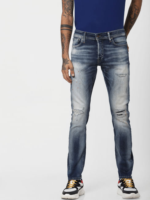 Blue Low Rise Heavily Washed Glenn Slim Fit Jeans