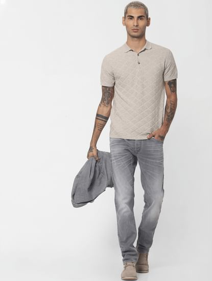 Cream Textured Polo T-shirt