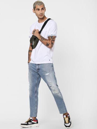 White Patch Pocket Crew Neck T-shirt