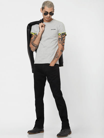Black Low Rise Clark Regular Fit Jeans