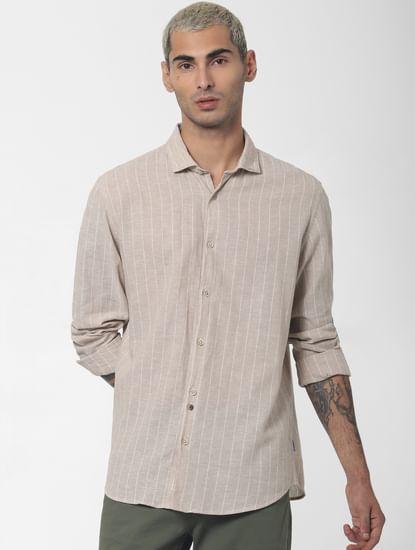 Beige Striped Full Sleeves Shirt