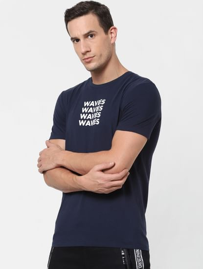 Navy Blue Text Print Crew Neck T-shirt