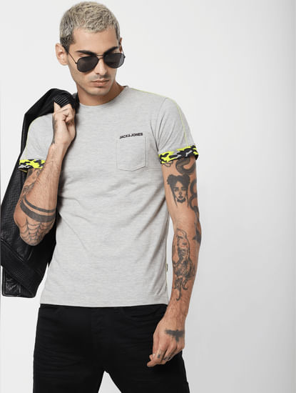 Grey Patch Pocket Crew Neck T-shirt