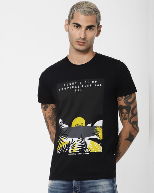 Black Tropical Print Crew Neck T-shirt
