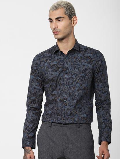 Dark Blue Geometric Print Full Sleeves Shirt