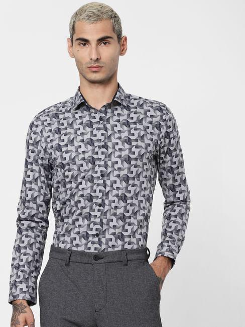 Grey Geometric Print Full Sleeves Shirt