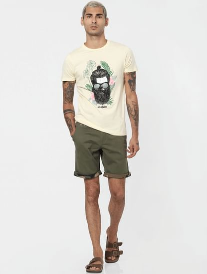 Olive Low Rise Chino Shorts
