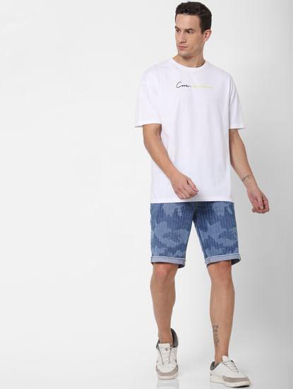 Blue Low Rise Striped Denim Shorts