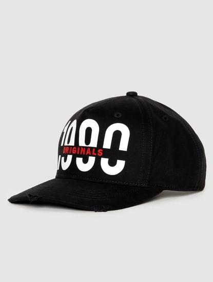 Black Logo Print Baseball Cap