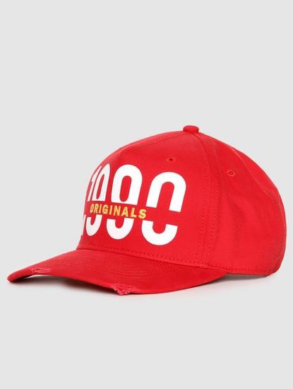 Red Logo Print Baseball Cap