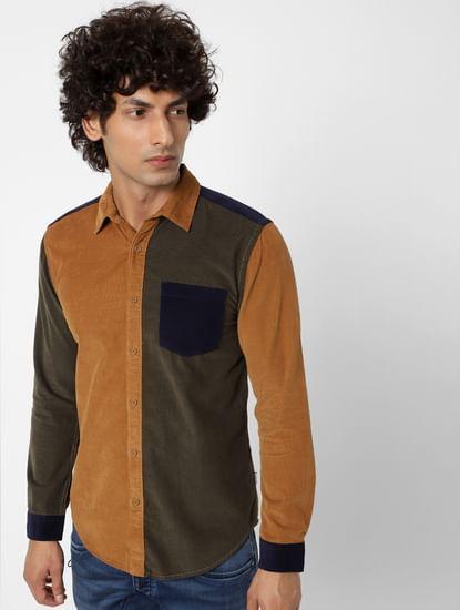 Dark Green Colourblocked Corduroy Shirt