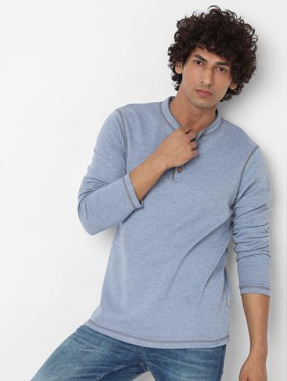 Blue Long Sleeves Henley Neck T-shirt
