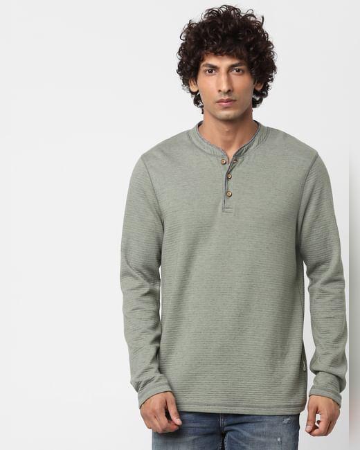 Green Long Sleeves Henley Neck T-shirt