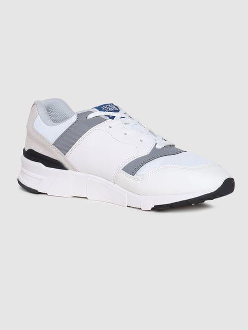 White & Grey Pu Colourblocked Sneakers