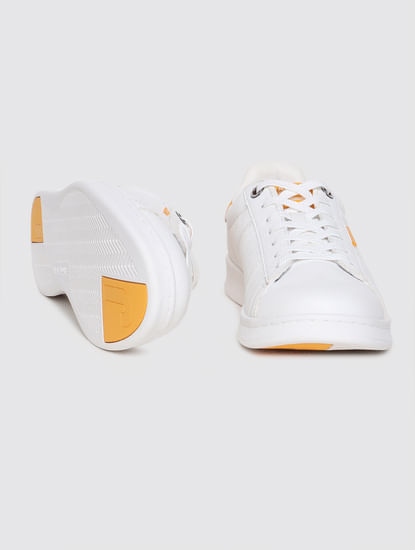 White & Yellow Colourblocked Lace Up Sneakers