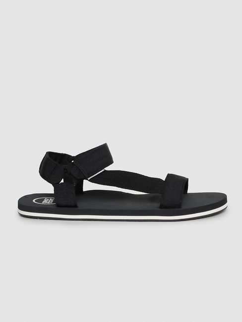 Black Logo Print Sandals