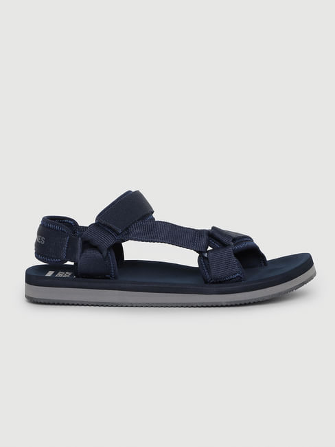 Blue Logo Print Sandals